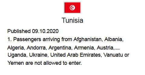 Reisebeschränkung Tunesien